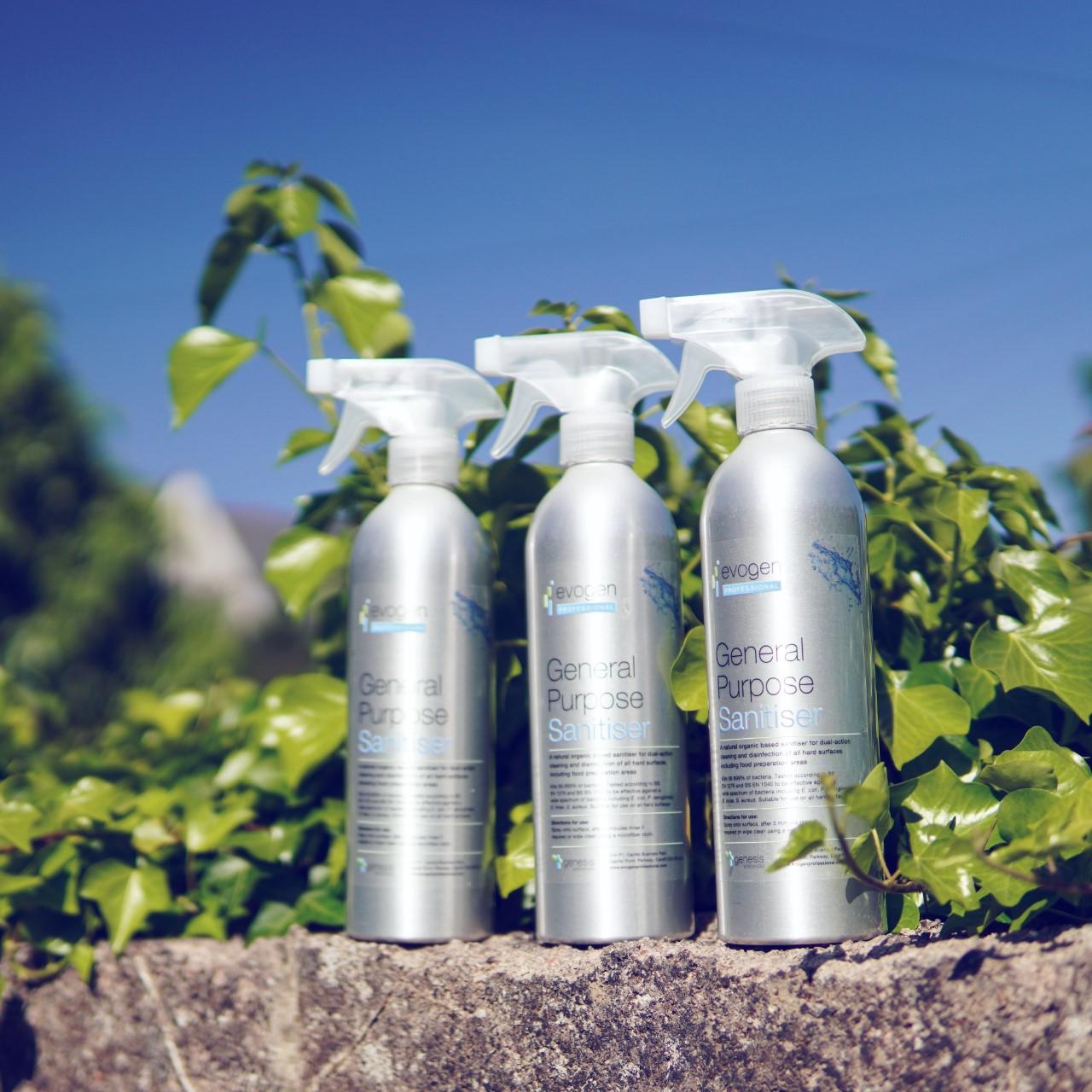 General Purpose Sanitiser - anti-viral, anti-bacterial sanitiser to prevent viruses - metal bottles
